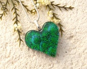 Small Emerald Heart, Green Necklace, Dichroic Pendant, Fused Glass Jewelry, Dichroic Jewelry,Silver Necklace, Glass Jewelry, 070116p105