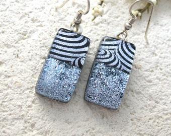 Silver Black Earrings, Dangle Drop Earrings, Dichroic Glass Earrings, Fused Glass Jewelry, Dichroic Jewelry, Sterling Silver, 070116e101