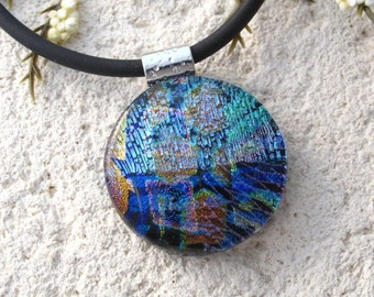 Round Blue Green Pink Necklace, Dichroic  Necklace, Fused Glass Jewelry, Dichroic Jewelry, Statement Necklace, Glass Jewelry, 100716p112