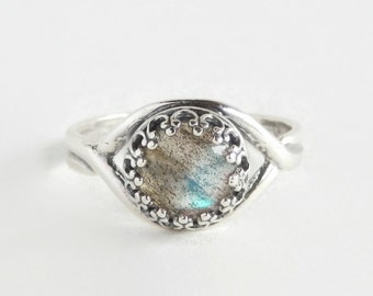 Labradorite Ring - Adjustable Thumb Ring - Sterling Silver Crown Ring