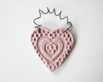Pink Heart Ornament - one ceramic clay heart - handmade, ready to mail