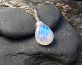 Rainbow Moonstone Sterling Silver Pendant, Wire Wrap, Handmade Jewelry, Blue Moonstone, Teardrop, Big, 16 18 20 22 24 Inch Necklace Chain