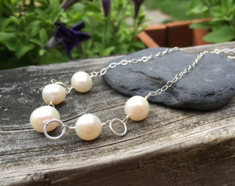White Freshwater Pearl Sterling Silver Necklace 18 inches long