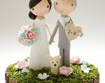 custom wedding cake topper with wood slab base
