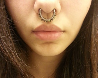 entwined septum ring-- 12g, 14g or 16g niobium hoop-- handmade by thebeadedlily