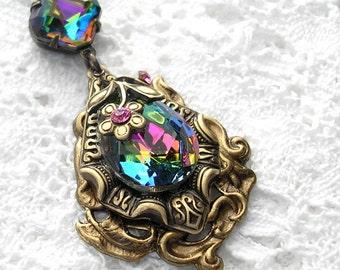 Enchanted Rainbow Vintage Vitrail Pendant