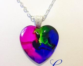 LOVE Glass Heart Pendant Ink Art  OOAK Necklace Jewelry 35mm A013 Pink Purple Blue Green