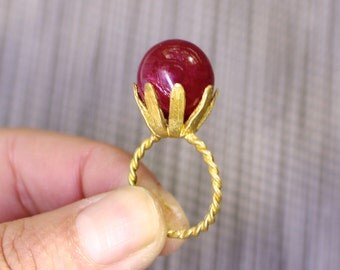 Cocktail Hour, Polished Large Red Ruby Floral Bloom Ring, Vintage Brass Size 7