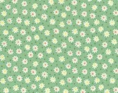 FAT QUARTER - Flowers and Dots on GREEN 31284-60 - Retro 30s Child Smile Collection Lecien - Daisy, Dot, Flower