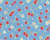 HALF YARD - Red Strawberries & Apples on BLUE 31282-77 - Retro 30s Child Smile Collection Lecien - Cherries, Red Cherry, Flower