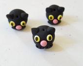 Black Cat Beads/ Set Of Three/ Polymer Clay/ Handmade Kitty Heads/ Black Cats/ Animals/ Jewelry Supplies/ Halloween Crafts/ Beading