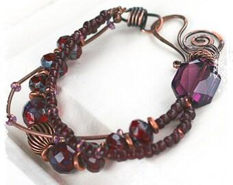 Boho ruby red bracelet for her, Bohemian statement bracelet, Multi-strand bracelet, 3 strand beaded bracelet, OOAK handcrafted