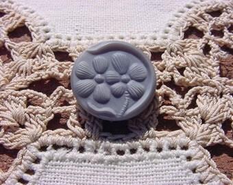 Grey Velvet Floral Pattern Vintage Czech Glass Button