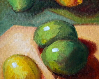 Lemon Lime, Still Life, Original, Oil Painting, 6x8 Canvas, Citrus Wall Decor, Small Kitchen Art, Tropical Fruit, Green Yellow, Food Decor