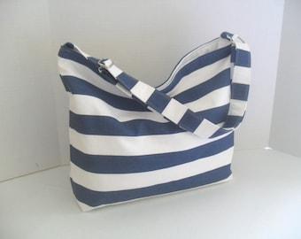 Hobo - Navy Blue and White Stripe - Messenger Bag - Crossbody -  Diaper Bag - Beach Bag - Nautical Bag - Blue Stripe Diaper Bag