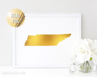 Tennessee State Map University of Tennessee Print - Real GOLD FOIL Wall Art - Custom Background Color - TN vols gift
