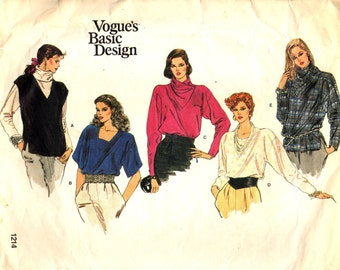 "Vogue 1214 Pullover Blouses STYLE VARIATIONS ""Vogue's Basic Design"""