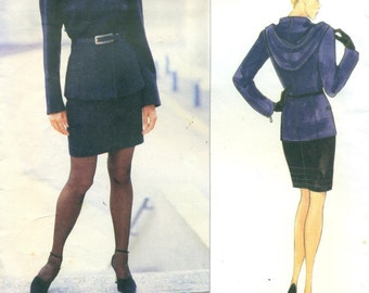 Vogue 2039 Paris Original CLAUDE MONTANA Hoodie Jacket & Skirt ©1997 Sizes 6 8 10