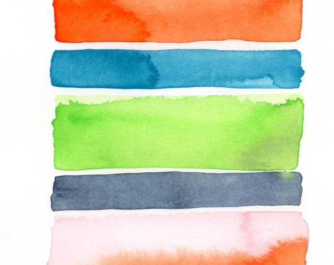 """Original abstract watercolor painting: """"Stripes"""""""