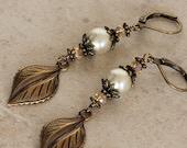 Earthy Pearl Bronze Brass Dangle Earrings, Long Natural Rustic Woodland, Leaves Crystals Swarovski Pearls EACA