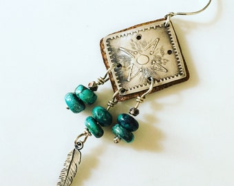 single sterling earring with turquoise beads silver feather earring starburst