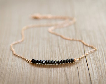 Minimalist Black Onyx Tiny Beaded Bar Necklace in Rose Gold-Fill