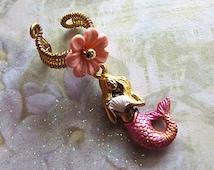 Choose Either Pink, Blue or Purple Simple Mermaid With Seashell Ear Cuff Fantasy Ocean Fairy Jewelry Nautical Ear Wrap
