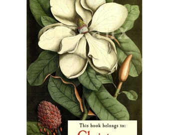 Personalized Bookplates - Magnolia - Vintage Book Plates, Perfect Mother's Day, Hostess Gift, Ex Libris
