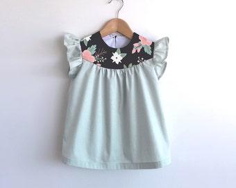 girls pale mint cotton dress with floral detail