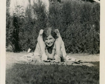 Vintage Snapshot 1940 Mom Performs Circus Act Bendy Body Legs over Head flexible