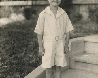 vintage photo Sweet and Handsome little Boy in White One Piece Jumper