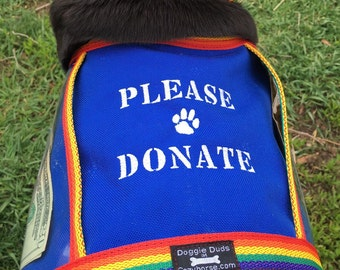 Fundraising Dog Vest with large clear pockets for donations, Royal Blue with Rainbow trim, PLEASE DONATE - size Medium