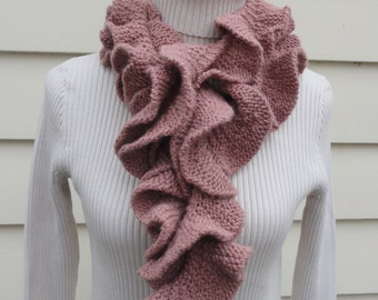 Hand knit scarf, hand knit ruffle scarf, curly scarf, knit scarf, corkscrew scarf in pink