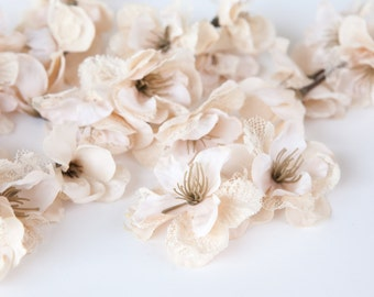 15 Vintage Khaki Blush Pink Lace Blossoms - Artificial Flowers - ITEM 0867
