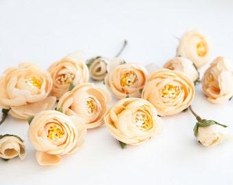 15 Small Mini Ranunculus in Vanilla Yellow - silk artificial flower, millinery flower - ITEM 0128