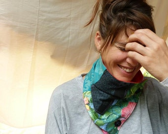 """Cowl neck scarf  """"Pinks and Greens"""""""