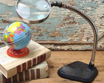 Free Shipping Magnifying Glass  Vintage Gooseneck Pivoting Magnifier with Iron Base