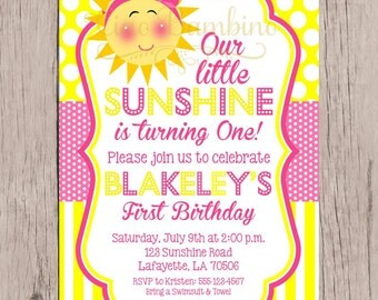 PRINTABLE You are My Sunshine Birthday Party Invitation / Yellow and Pink Sunshine Invitation for Birthday or Baby Shower / You Print