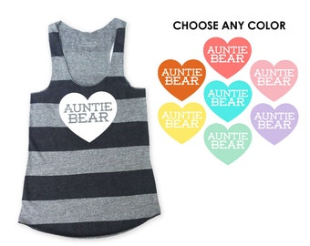 Auntie Bear with Heart Heather Grey and Heather Black Stripe Racerback Tank Top - Baby Announcement, Baby Shower, New Aunt, Gift for Sister