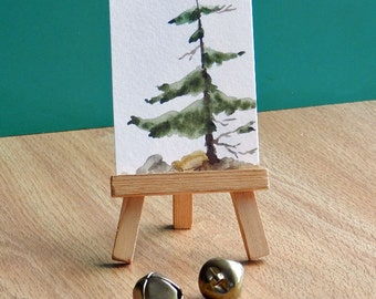 ACEO Watercolor Fir Tree, Tiny Art Painting, Leaning Tree, Original, Woodland Tree Painting with Optional Mini Easel