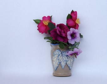 Blue Begonia Wall Pocket Vase . Handmade Pottery .