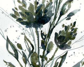 "Abstract Flower Watercolor Painting, olive, green floral art, plant, nature, blooms, ""Organic Impressions 120"" Kathy Morton Stanion EBSQ"