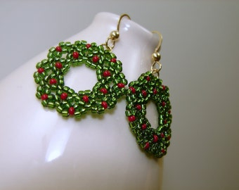 Christmas Wreath Earrings Glass and Gold Filled