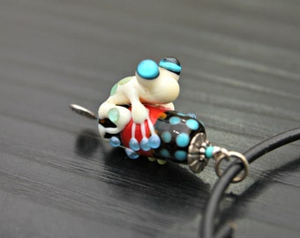 Cecily the Ivory Colored Handmade Glass Frog Bead Pendant With Blue Toes and Wonderful Eyes on Black Leather Necklace
