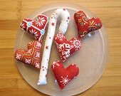 Country  Red and White Christmas Heart and Candy Cane Ornament Bowl Filler Decoration
