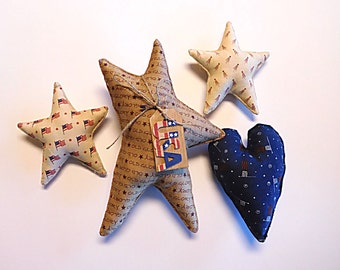 Patriotic Americana Large Star and Heart Bowl Filler Tuck Ornaments
