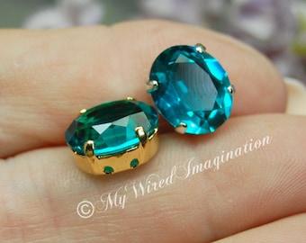Blue Zircon, Vintage Swarovski Un-foiled 12x10mm Oval, Article 4120, Swarovski Crystal in Setting, Rhinestone Setting  December Birthstone