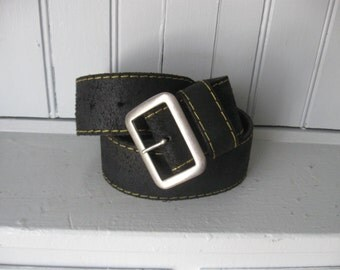 Doc Martins Useful Accessories Black Leather Belt with Yellow Stitching