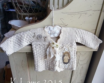 Christmas - Winter - JOY - altered baby sweater - decoration - NO 190