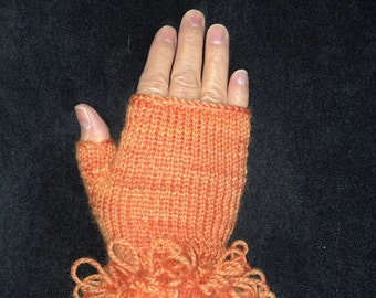 Handknitted Fingerless Gloves Wristwarmers Handwarmers - Orange -  Size M  (womens)